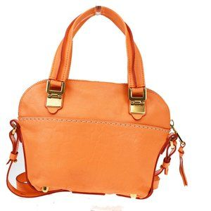 CHLOE Logo 2Way Shoulder Hand Bag Leather Orange
